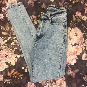 Fashion Nova Acid High Waisted Skinny Jeans 7/8
